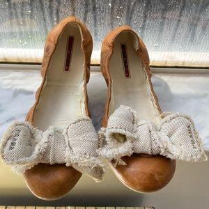 Prada pre loved bow loafers